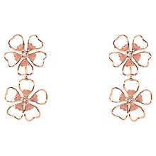 Buy Ted Baker Lorel Flower Double Drop Earrings, Rose Gold/Pink Online at johnlewis.com