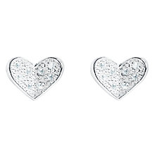 Buy Joma Plain Folded Heart Stud Earrings, Silver Online at johnlewis.com