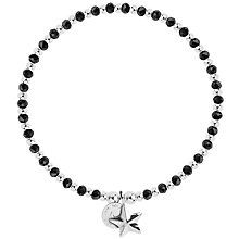 Buy Joma Crystal and Bead Star Bracelet, Black/Silver Online at johnlewis.com