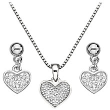 Buy Hot Diamonds Stargazer Diamond Heart Pendant and Earrings Set, Silver Online at johnlewis.com