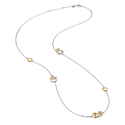 Kit Heath 18ct Gold Plated Sterling Silver Cocoon Link Necklace, Gold/Silver