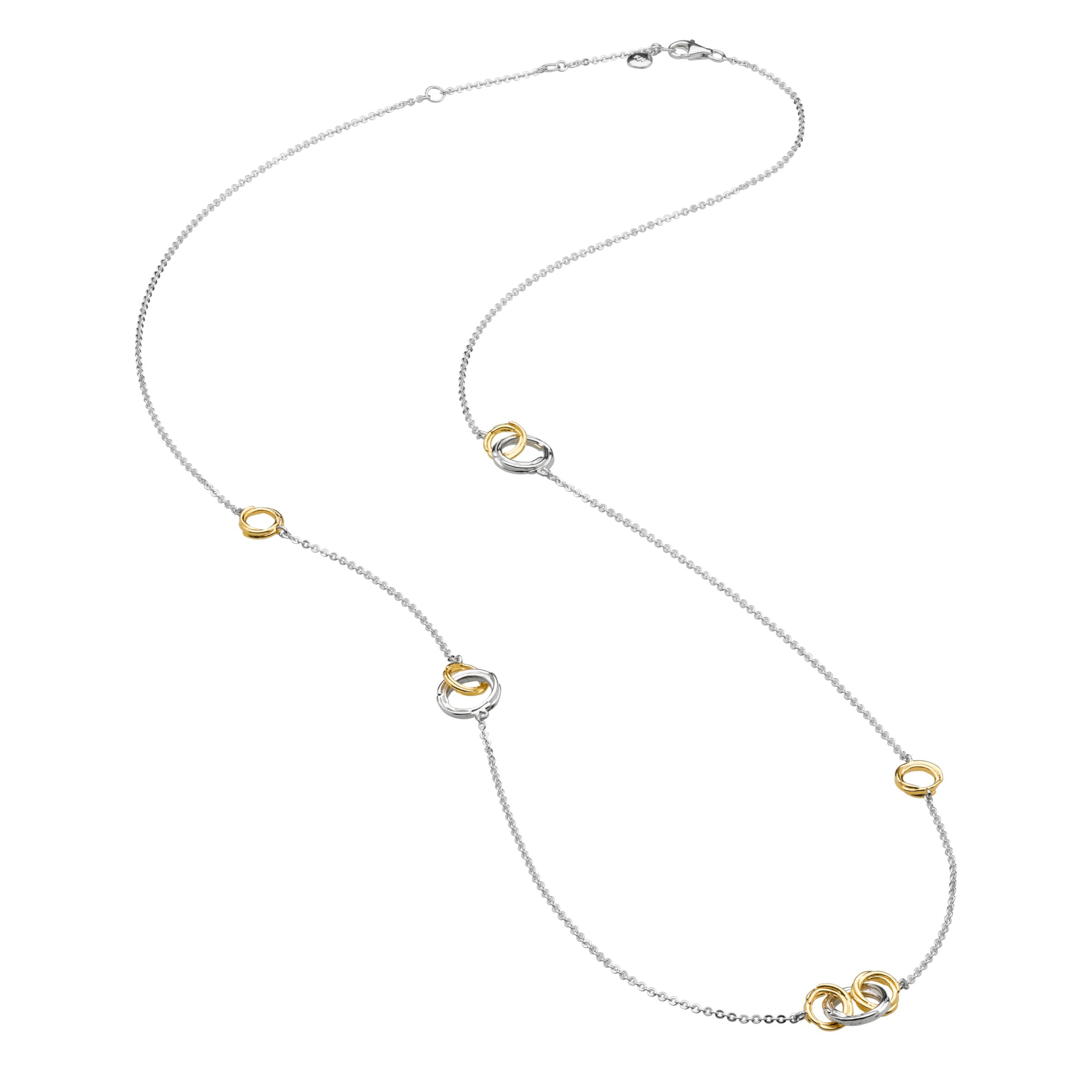 Kit Heath Kit Heath 18ct Gold Plated Sterling Silver Cocoon Link Necklace, Gold/Silver