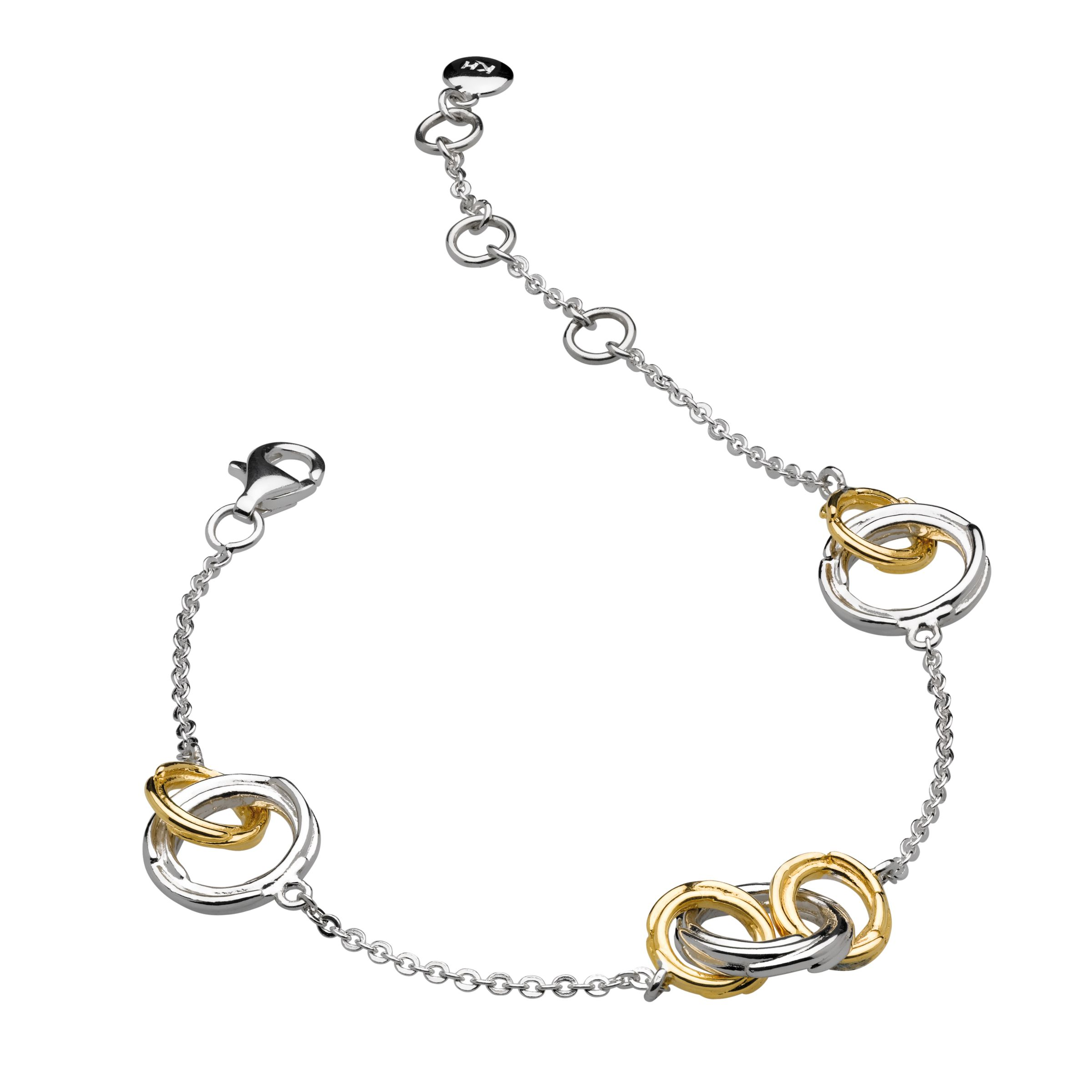 Kit Heath Kit Heath 18ct Gold Plated Sterling Silver Cocoon Link Chain Bracelet, Gold/Silver