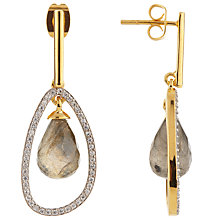 Buy John Lewis Gemstones Pave Open Drop Earrings, Gold/Labradorite Online at johnlewis.com