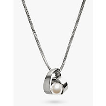 Buy Skagen Agnethe Twirl Crystal Pearl Pendant Necklace, Silver/White Online at johnlewis.com