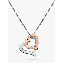 Buy Hot Diamonds Double Heart Pendant Necklace, Silver/Rose Gold Online at johnlewis.com