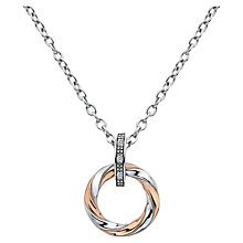 Buy Hot Diamonds Twist Diamond Pendant Necklace, Silver/Rose Gold Online at johnlewis.com
