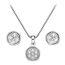 Buy Hot Diamonds Stargazer Diamond Circle Pendant and Earrings Set, Silver Online at johnlewis.com