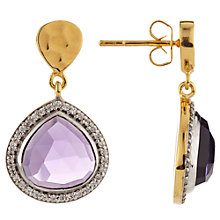 Buy John Lewis Gemstones Pave Teardrop Earrings, Gold/Amethyst Online at johnlewis.com