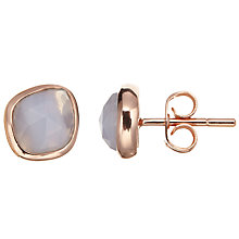 Buy John Lewis Gemstones Agate Stud Earrings, Rose Gold/Blue Online at johnlewis.com