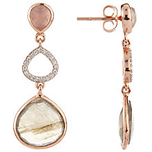 Buy John Lewis Gemstones Labradorite, Cubic Zirconia and Rose Quartz Triple Drop Earrings, Rose Gold Online at johnlewis.com