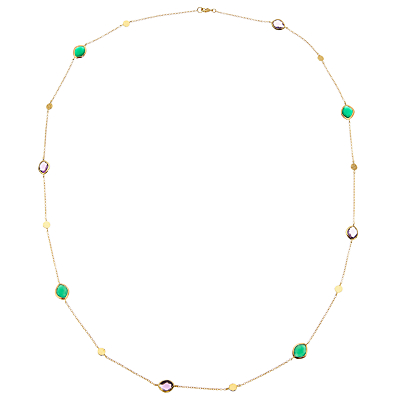 John Lewis Gemstones Long Semi-Precious Stone Chain Necklace, Amethyst/Green Onyx