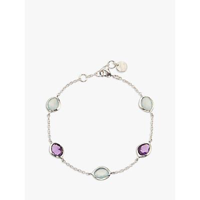 John Lewis Gemstones Aqua Chalcedony and Amethyst Bracelet, Silver/Multi