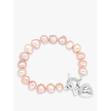 Buy Claudia Bradby Hammered Heart Charm Freshwater Pearl Bracelet Online at johnlewis.com