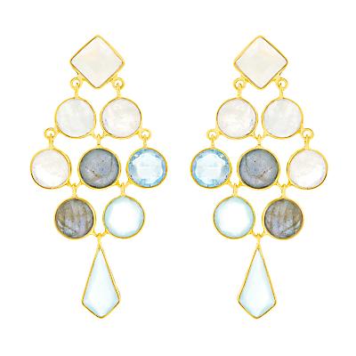 Auren 18ct Gold Vermeil Gemstones Cascade Kite Drop Earrings, Multi