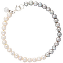 Buy Claudia Bradby Freshwater Pearl Ombre Single Strand Bracelet, Silver/White Online at johnlewis.com