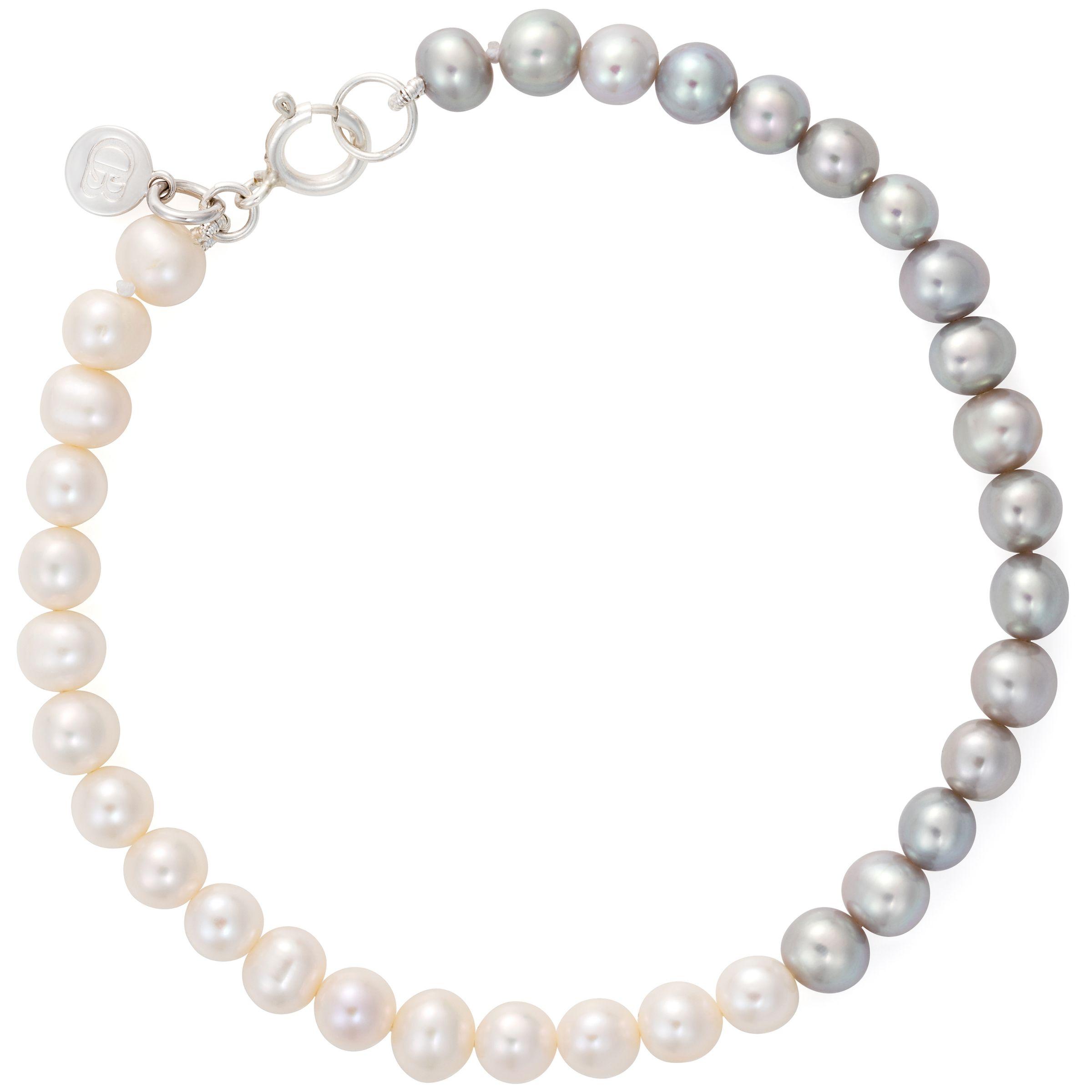 Claudia Bradby Claudia Bradby Freshwater Pearl Ombre Single Strand Bracelet, Silver/White