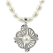 Buy Lido Pearls Freshwarter Pearl Twisted Flower Drop Necklace, Silver/White Online at johnlewis.com
