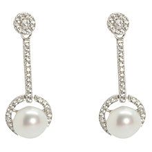 Buy Lido Pearls Freshwater Pearl Cubic Zirconia Long Single Drop Earrings, Silver/White Online at johnlewis.com