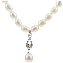 Buy Lido Pearls Freshwater Pearl Drop Pendant Necklace, Silver/White Online at johnlewis.com