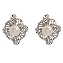 Buy Lido Pearls Freshwater Pearl Twisted Flower Stud Earrings, Silver/White Online at johnlewis.com