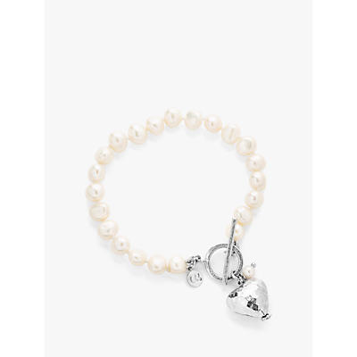 Claudia Bradby Hammered Heart Charm Freshwater Pearl Bracelet