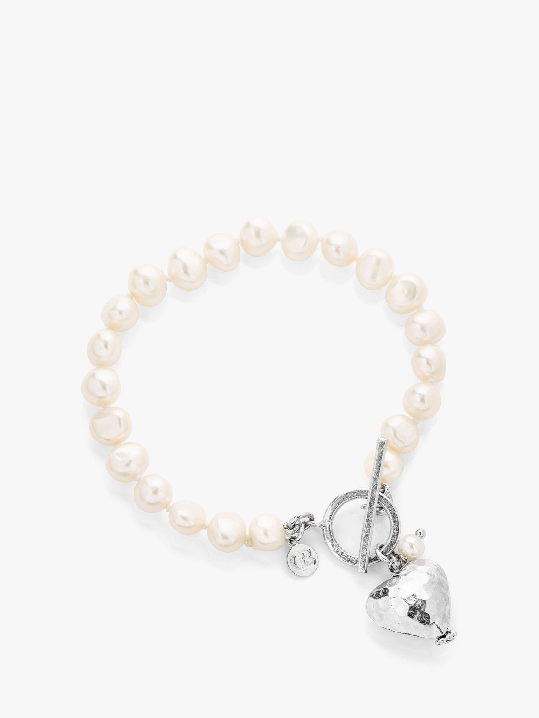 Claudia Bradby Claudia Bradby Hammered Heart Charm Freshwater Pearl Bracelet