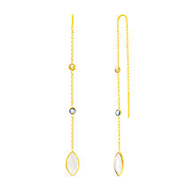 Buy Auren 18ct Gold Vermeil Multi-Gemstones Marquise Chain Drop Earrings, Gold/Multi Online at johnlewis.com