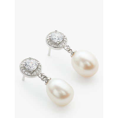 Lido Pearls Circle Cubic Zirconia Freshwater Pearl Drop Earrings