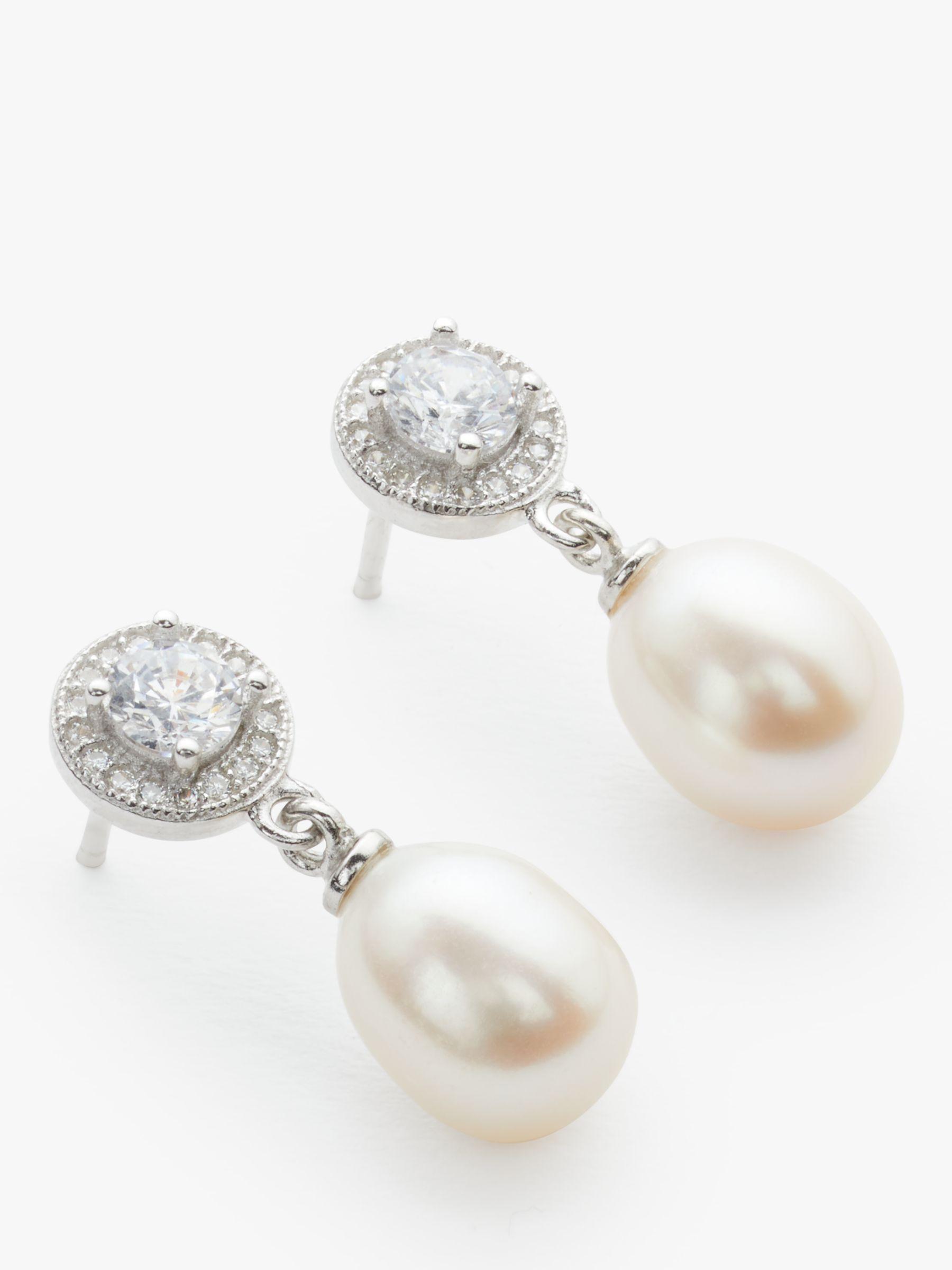 Lido Pearls Lido Pearls Circle Cubic Zirconia Freshwater Pearl Drop Earrings