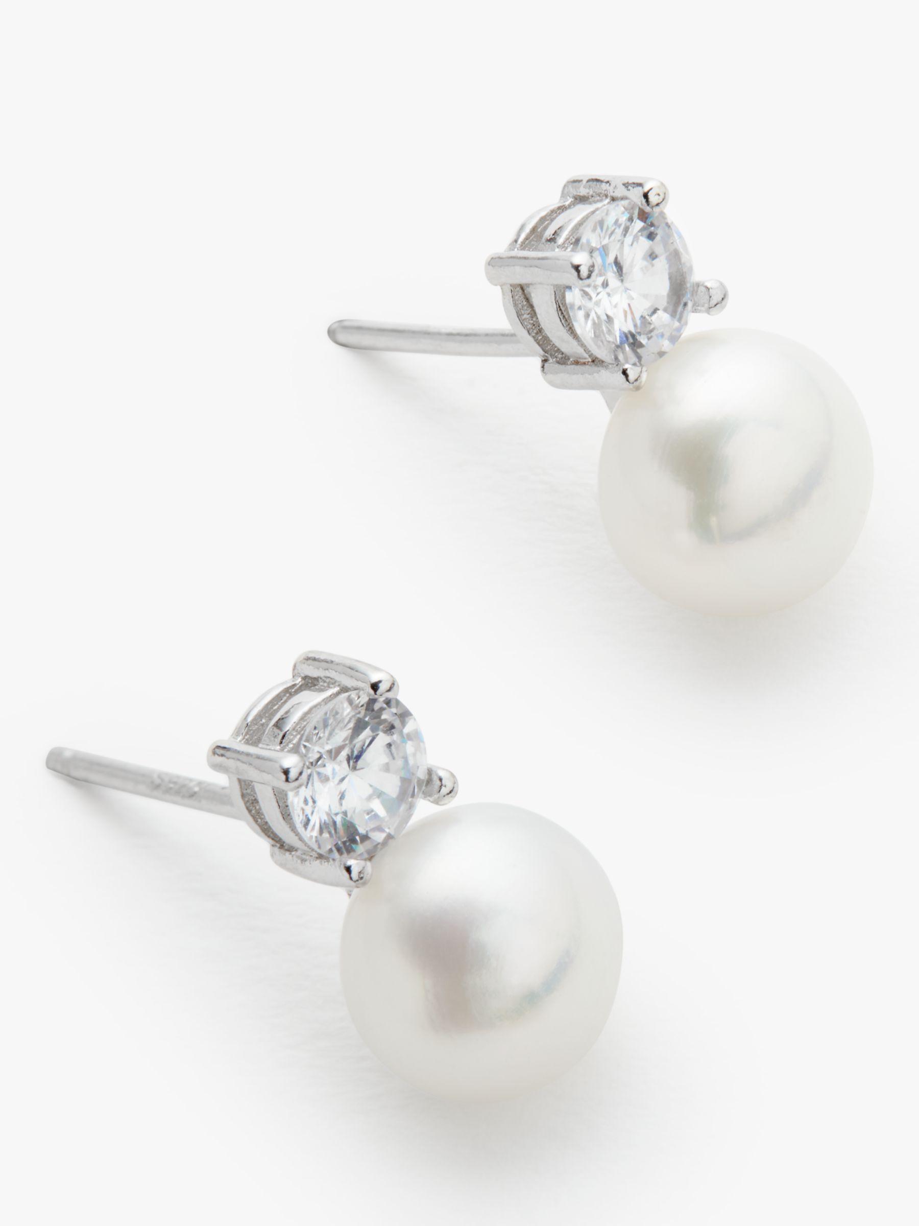 Lido Pearls Lido Pearls Freshwater Pearl Stud Earrings, White/Silver