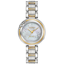 Buy Citizen EM0464-59D Women's L Carina Diamond Two Tone Bracelet Strap Watch, Silver/Gold Online at johnlewis.com