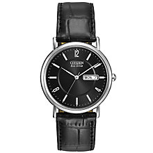 Buy Citizen BM8240-03E Men's Classic Day Date Leather Strap Watch, Black Online at johnlewis.com