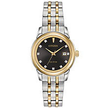Buy Citizen EW2394-59E Women's Silhouette Date Diamond Two Tone Bracelet Strap Watch, Silver/Gold Online at johnlewis.com