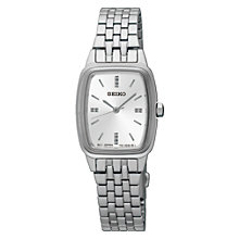 Buy Seiko SRZ469P1 Women's Rectangular Dial Bracelet Strap Watch, Silver Online at johnlewis.com