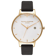 Buy Olivia Burton OB16AM86 Women's Queen Bee Leather Strap Watch, Black/Gold Online at johnlewis.com