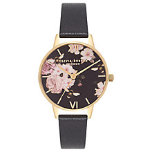 Buy Olivia Burton OB16FS80 Women's Flower Show Leather Strap Watch, Black/Gold Online at johnlewis.com