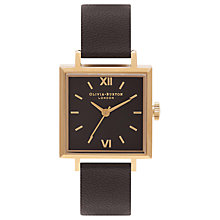 Buy Olivia Burton Women's Square Detail Leather Strap Watch Online at johnlewis.com