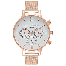 Buy Olivia Burton Big Dial Chrono Detail Chronograph Mesh Bracelet Strap Watch Online at johnlewis.com