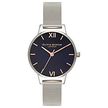 Buy Olivia Burton OB16MD71 Women's Navy Dial Bracelet Mesh Strap Watch, Silver/Blue Online at johnlewis.com