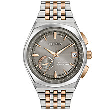 Buy Citizen CC3026-51h Men's Satellite Wave World Time GPS Two Tone Bracelet Strap Watch, Silver/Rose Gold Online at johnlewis.com