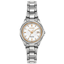 Buy Citizen EW2410-54A Women's Date Titanium Bracelet Strap Watch, Silver/White Online at johnlewis.com