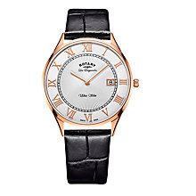 Buy Rotary GS90804/01 Men's Les Originales Ultra Slim Date Leather Strap Watch, Black/Silver Online at johnlewis.com