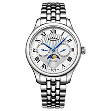 Buy Rotary GB05065/01 Men's Moonphase Day Date Bracelet Strap Watch, Silver Online at johnlewis.com