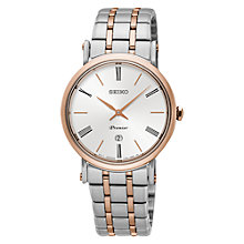 Buy Seiko SXB430P1 Women's Premier Date Two Tone Bracelet Strap Watch, Silver/Rose Gold Online at johnlewis.com