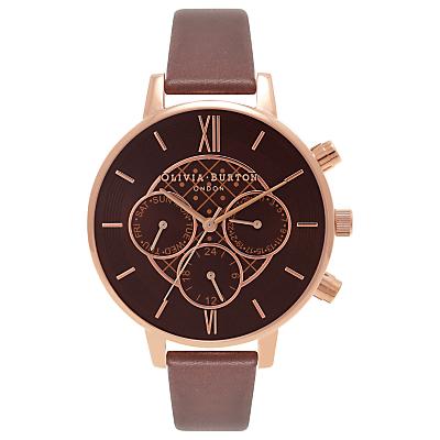 Olivia Burton OB16CG84 Big Dial Chrono Detail Chronograph Leather Strap Watch, Brown/Gold
