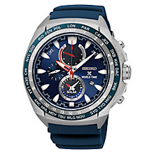 Buy Seiko SSC489P1 Men's Prospex Chronograph World Time Rubber Strap Watch, Blue Online at johnlewis.com