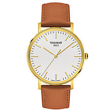 Buy Tissot T1094103603100 Men's Everytime Leather Strap Watch, Tan/White Online at johnlewis.com