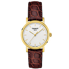 Buy Tissot T1092103603100 Women's Everytime Leather Strap Watch, Brown/White Online at johnlewis.com