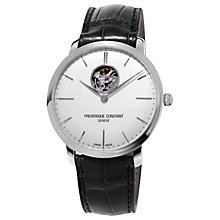 Buy Frédérique Constant FC-312S4S6 Men's Slimline Skeleton Leather Strap Watch, Black/White Online at johnlewis.com